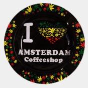 Rasta leaves I love Ams Coffeeshop  metal ashtray