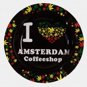 Rasta leaves I love Ams Coffeeshop metal ashtray