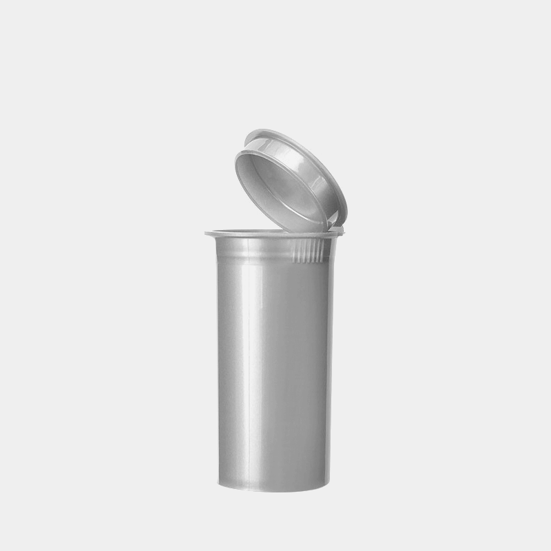 Poptop silver plastic tobacco and herbs container small 35mm