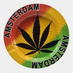 Rasta weed leaf metal ashtray