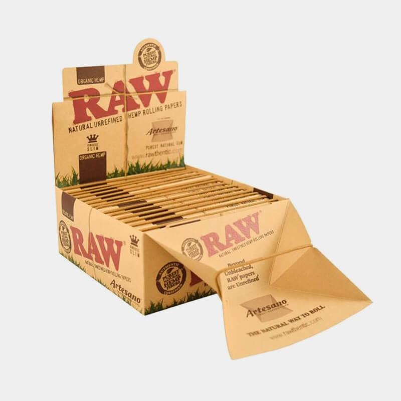 RAW Artesano kingsize slim rolling papers + tips + tray (15pcs/display)
