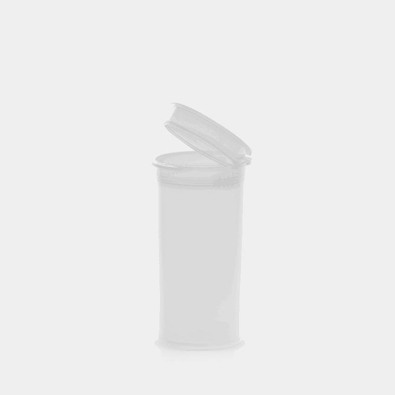 Poptop transparent plastic tobacco and herbs container small 35mm