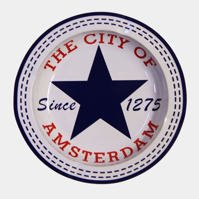Blue star City of Amsterdam  metal ashtray