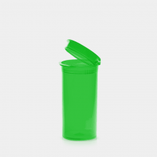 Poptop green plastic cannabis container small 35mm