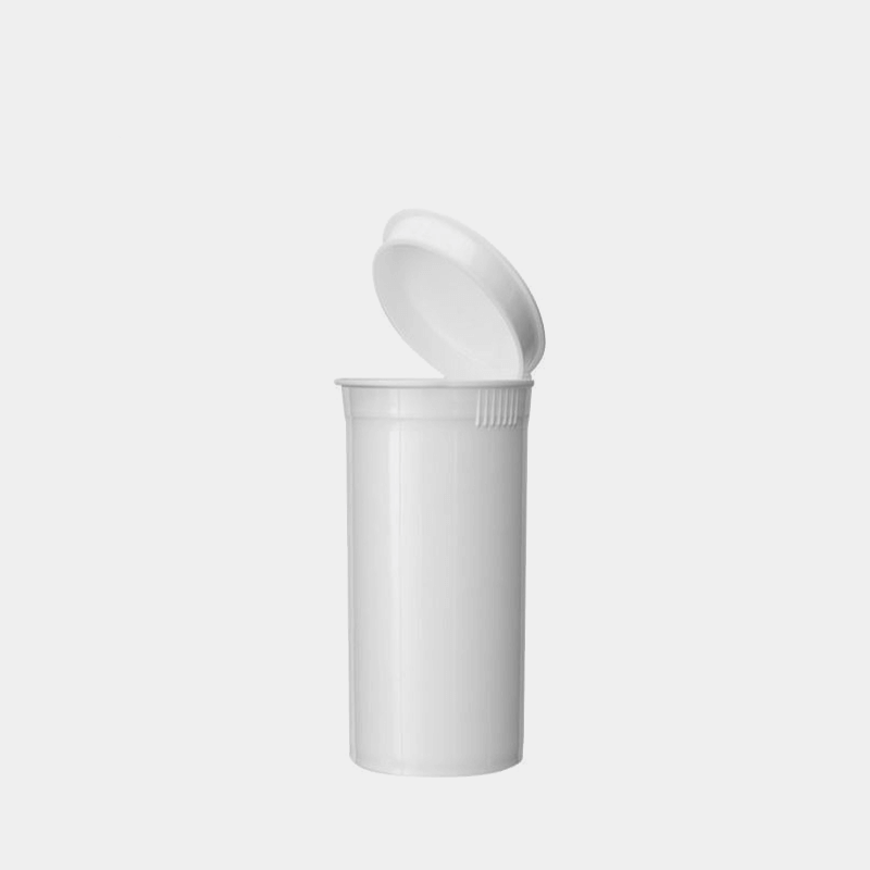 Poptop white plastic tobacco and herbs container small 35mm