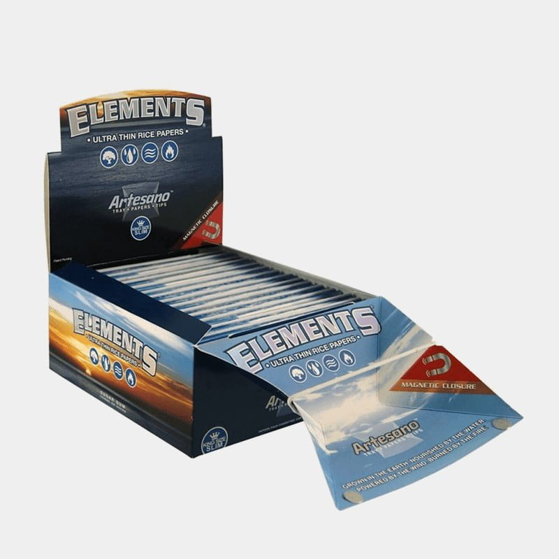 Elements Artesano kingsize slim rolling papers + tips + tray (15pcs/display)