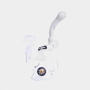 White and transparent flower glass dab bong
