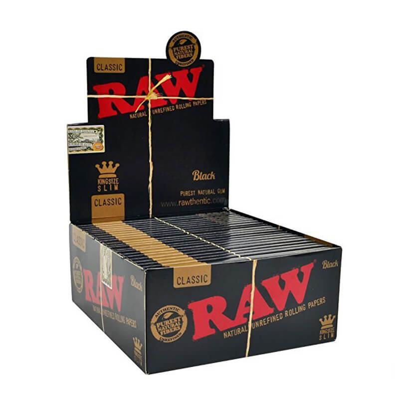 RAW Black kingsize slim rolling papers (50pcs/display)