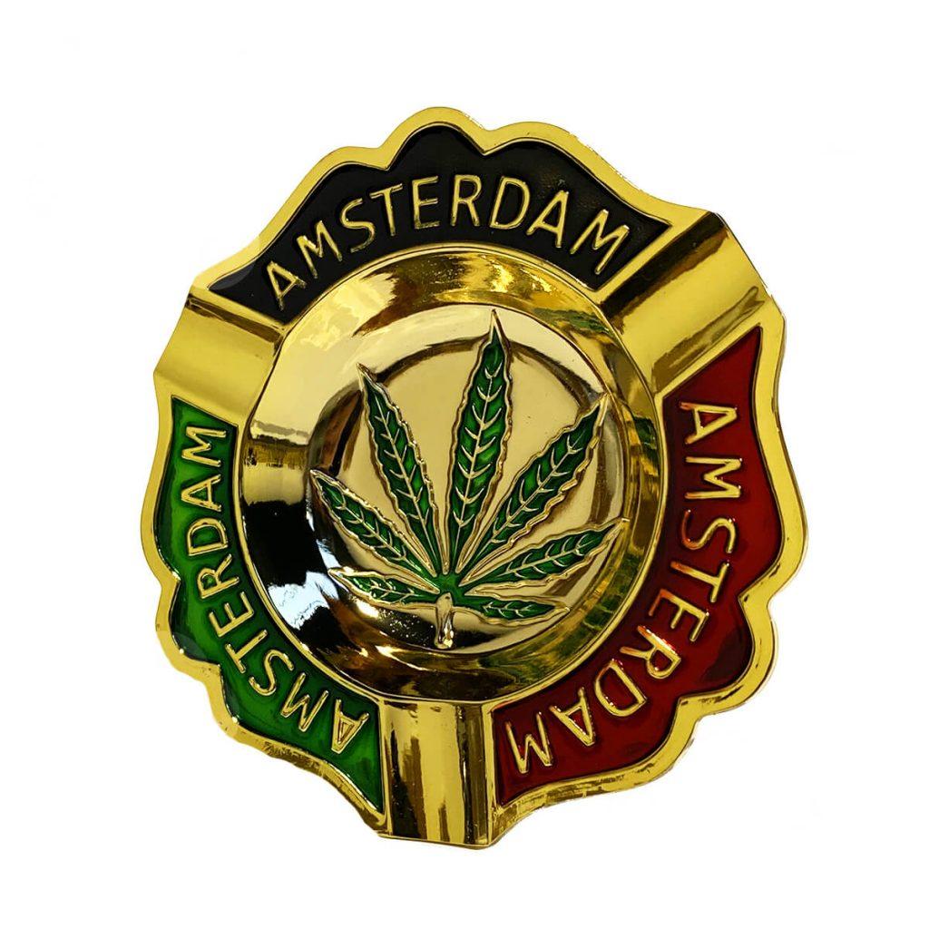 Amsterdam quality weed leaf gold metal ashtray