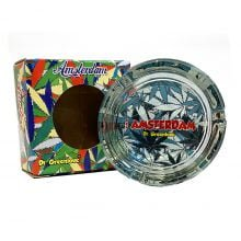 Amsterdam cool leaves teal glass ashtray