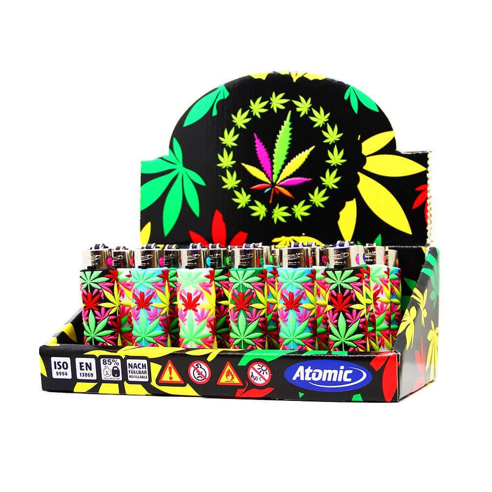 Atomic silicon cover 3D lighters weed leaf jungle (24pcs/display)