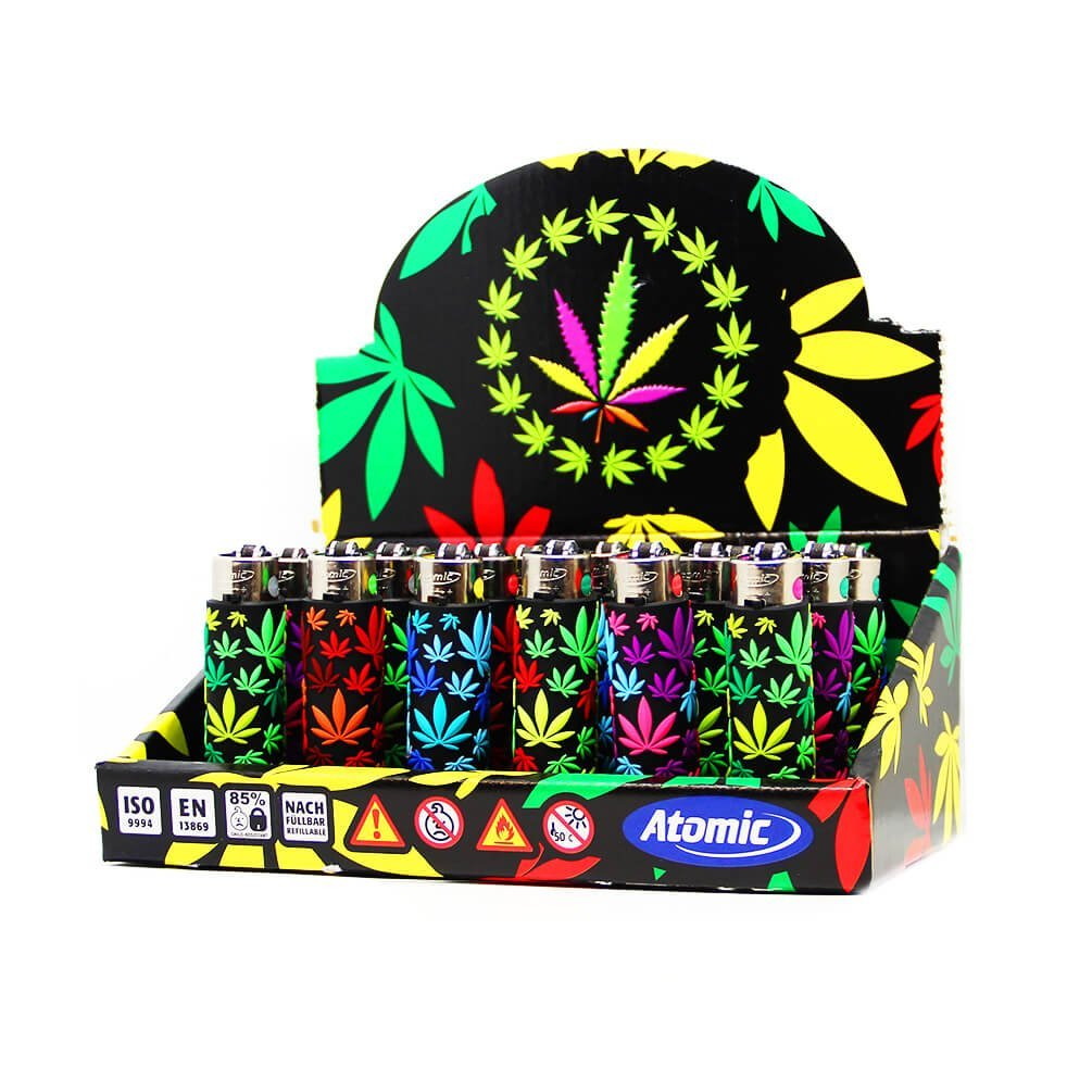 Atomic silicon cover 3D lighters weed leaf party (24pcs/display)