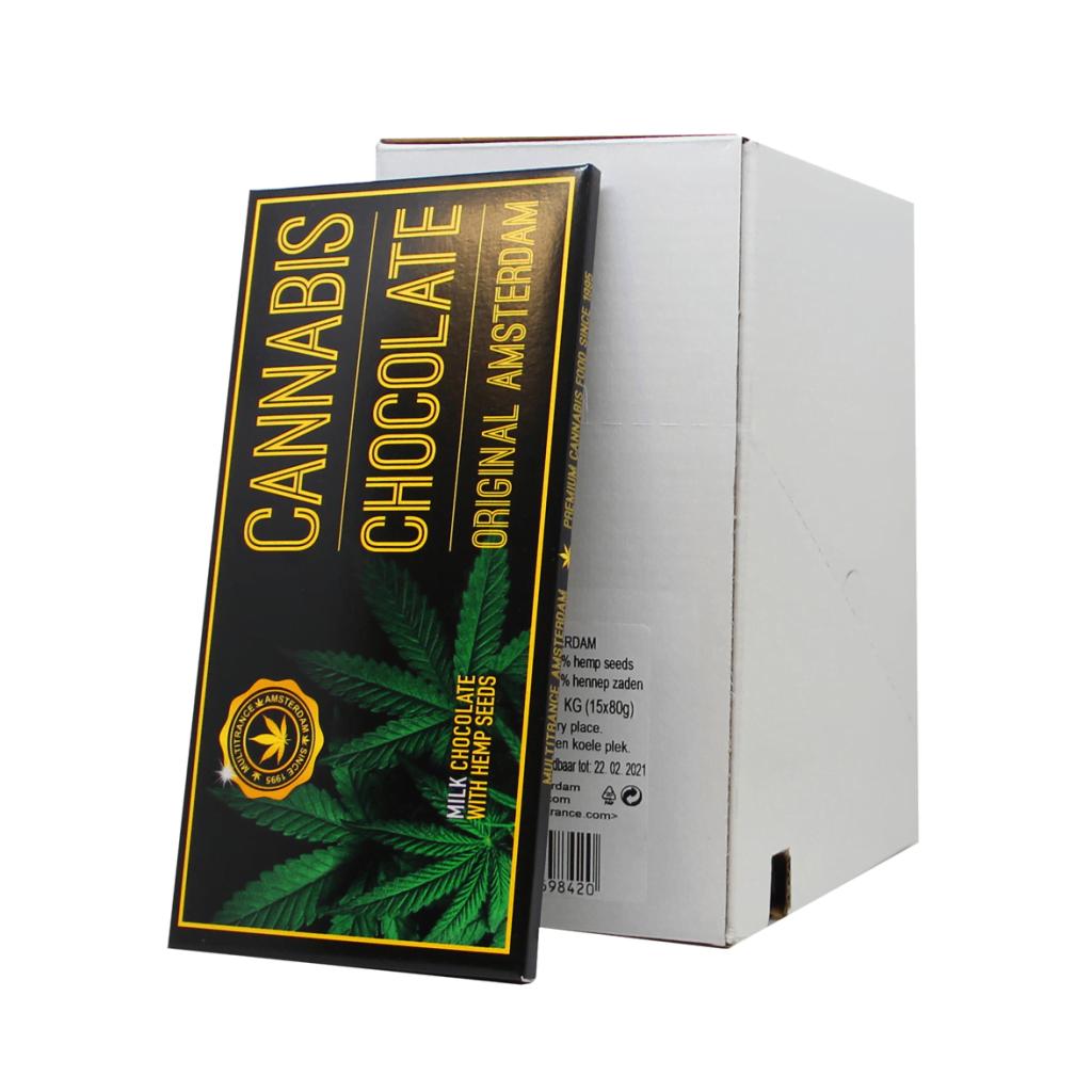 Cannabis milk hempseeds leaf chocolate THC free (15pcs/display)