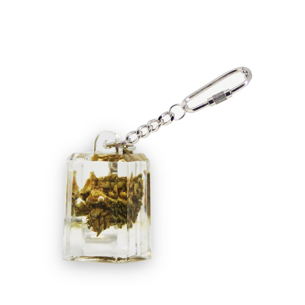 Real cannabis acrylic transparent keychain cube