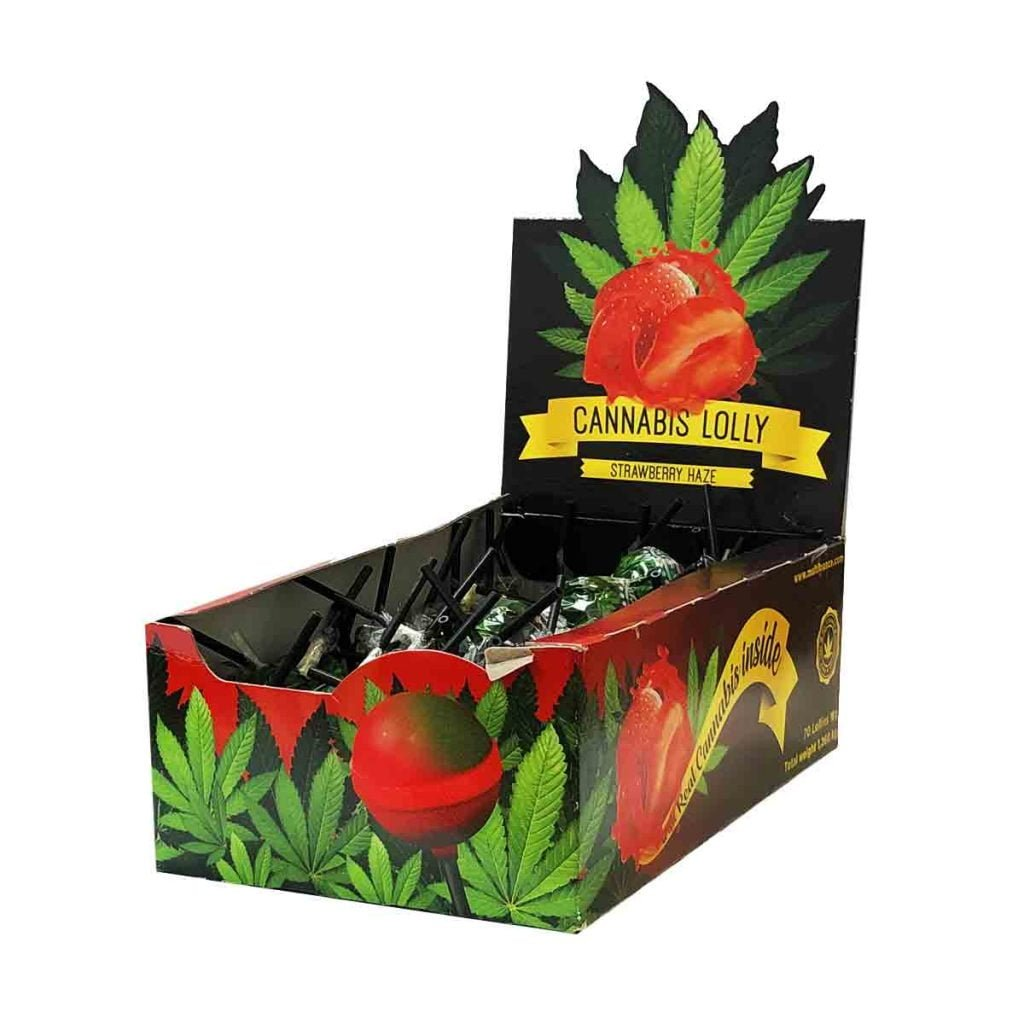 Cannabis lollipops box Strawberry THC free (70pcs/display)