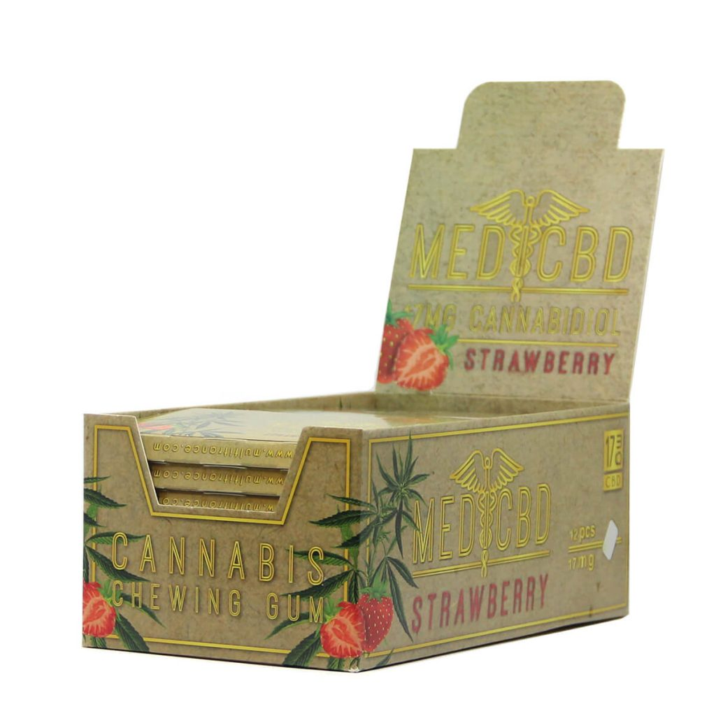 CBD Strawberry chewing gum brown THC free  (24pcs/display)