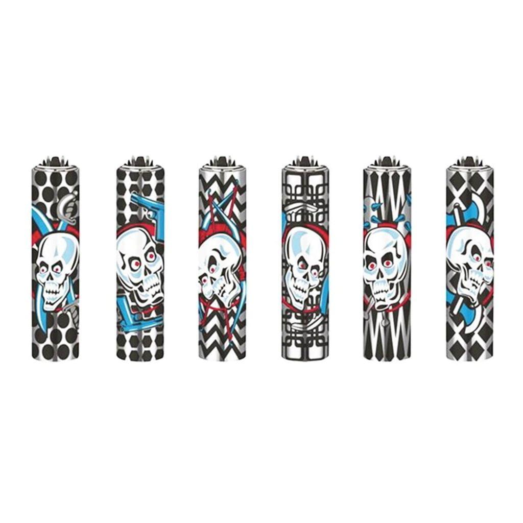 Clipper™ Skulls gun metal cover lighters (30pcs/display)
