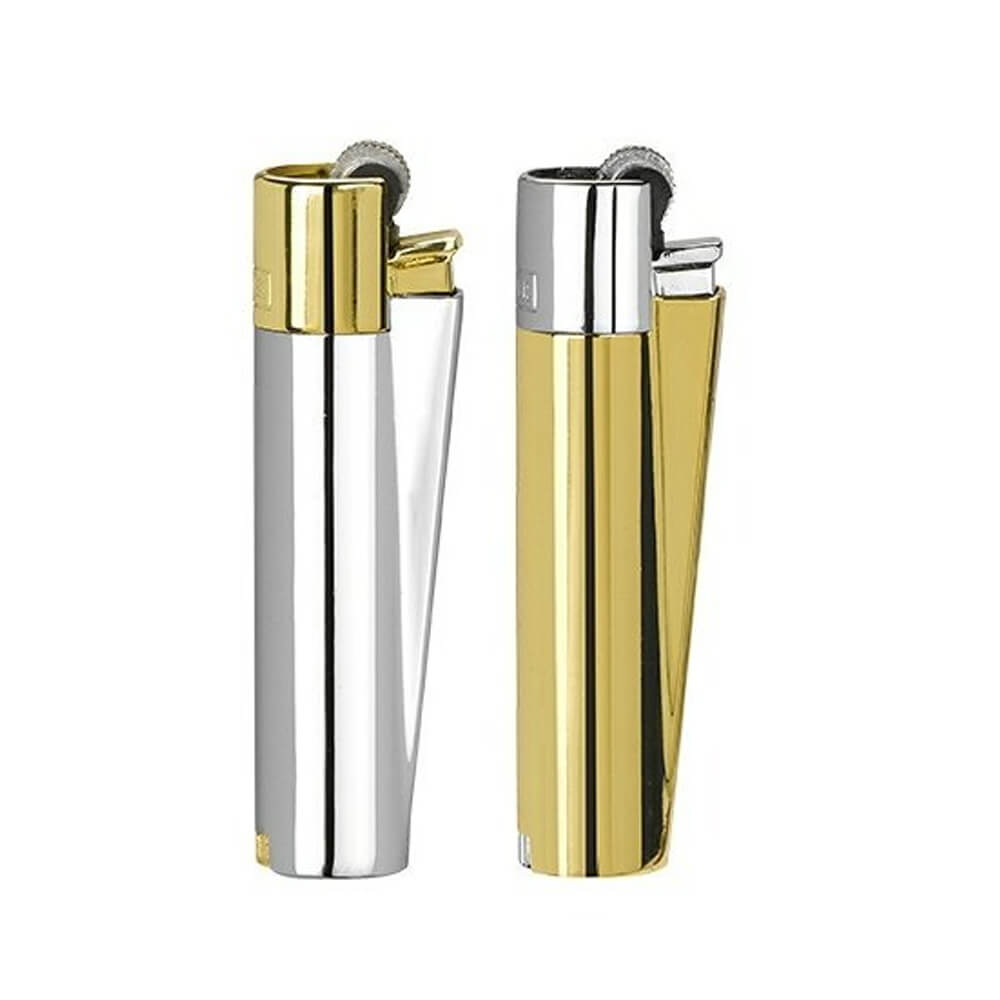 Clipper™ Gold And Silver metal lighters - 12pcs/display