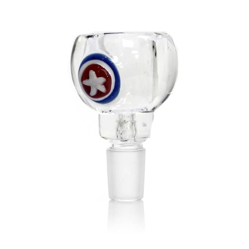 Hero Shield Transparent Glass Bong Bowl 14mm