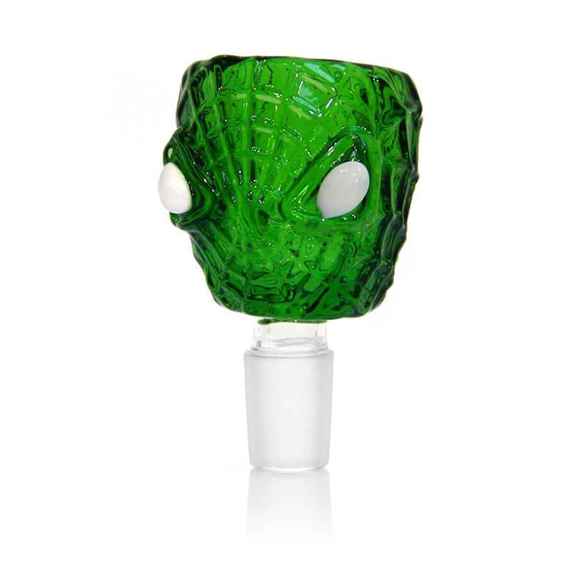 Spider Face Green Glass Bong Bowl 14mm