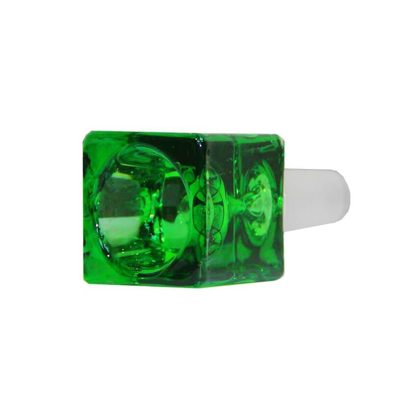 Cube Green Glass Bong Bowl 14mm