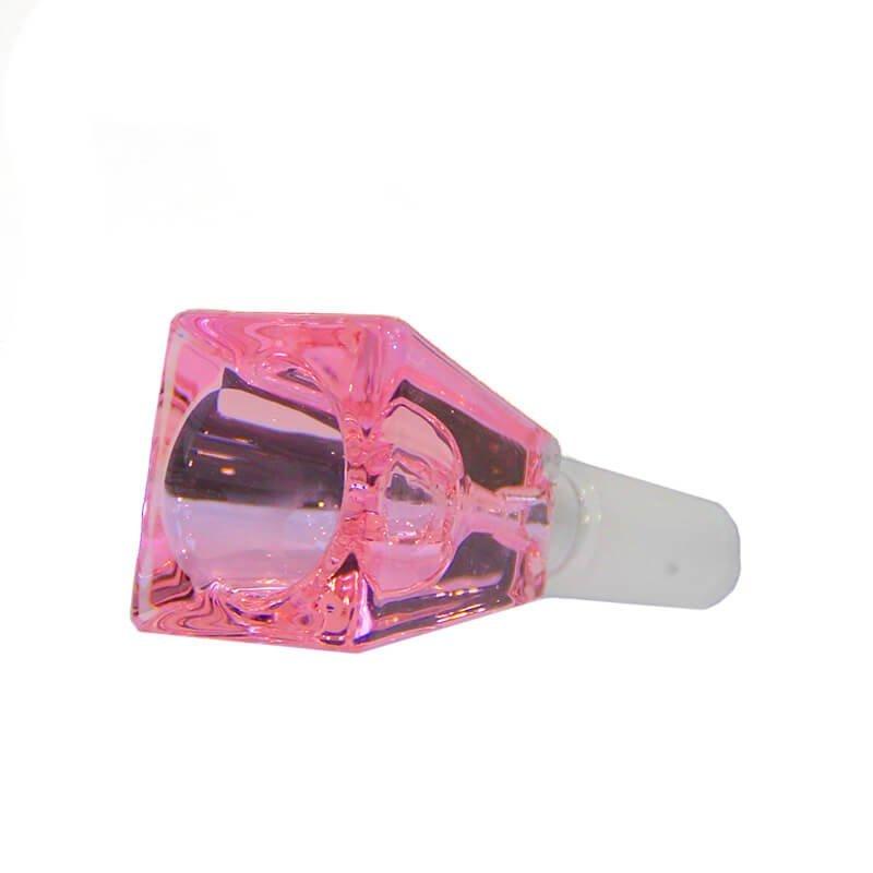 Rectangular Cube Pink Glass Bong Bowl 14mm