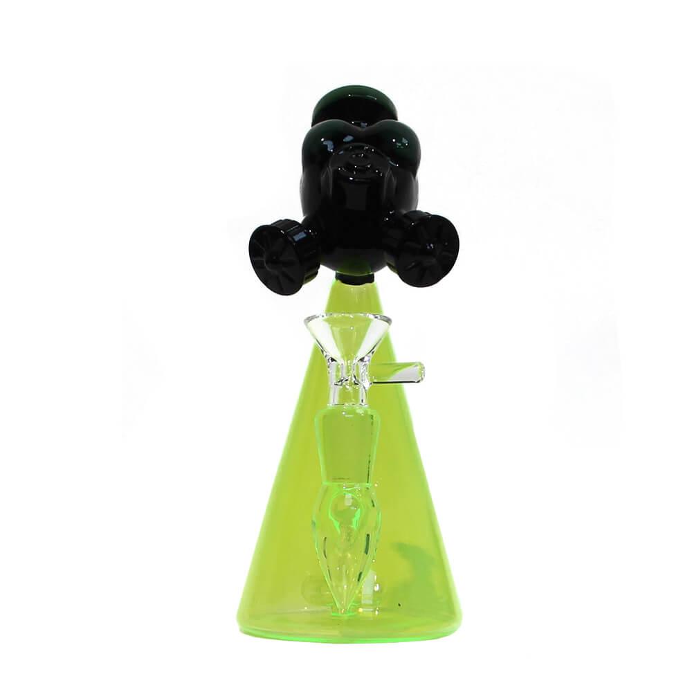 Green Alien Mask Glass Bong 15cm