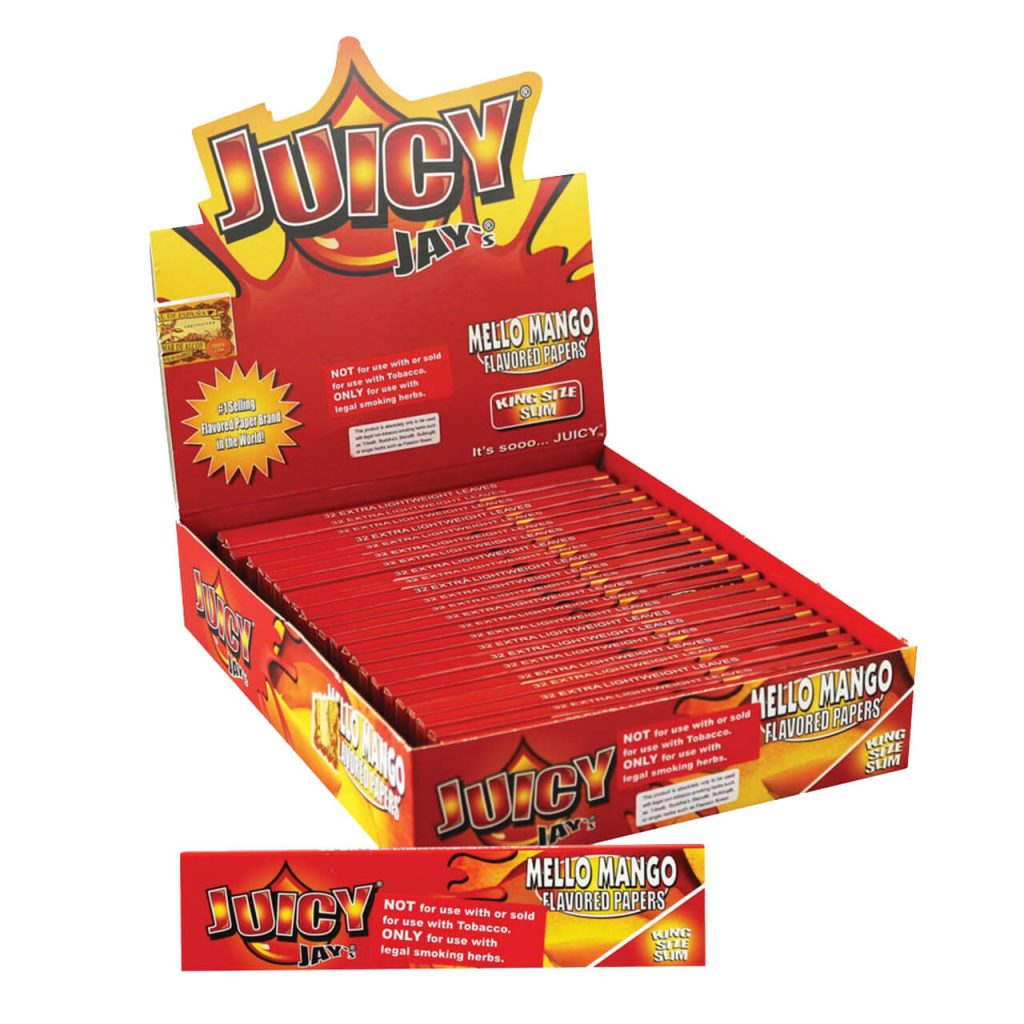 Juicy Jay kingsize Mello Mango rolling papers (24pcs/display)