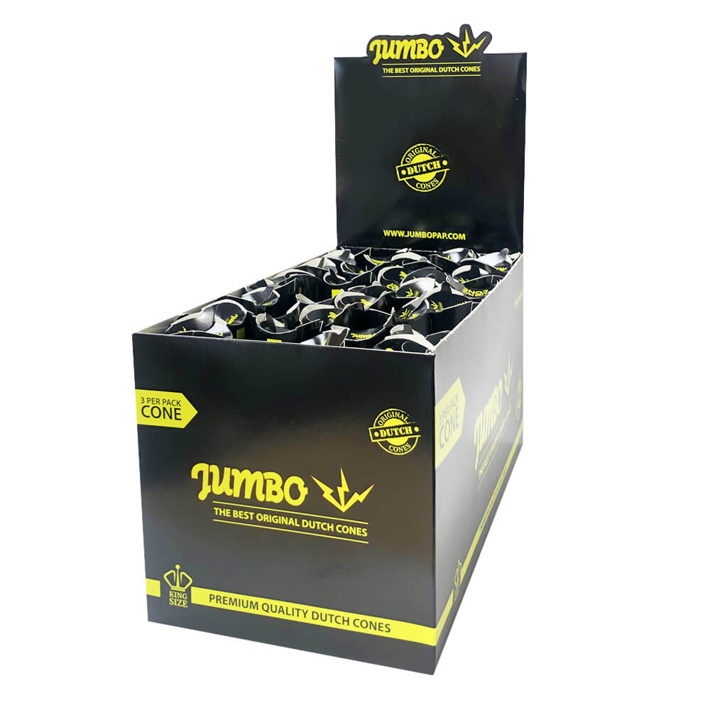 Jumbo King Size Black Cones 3 Cones Per Pack (24pcs/display)
