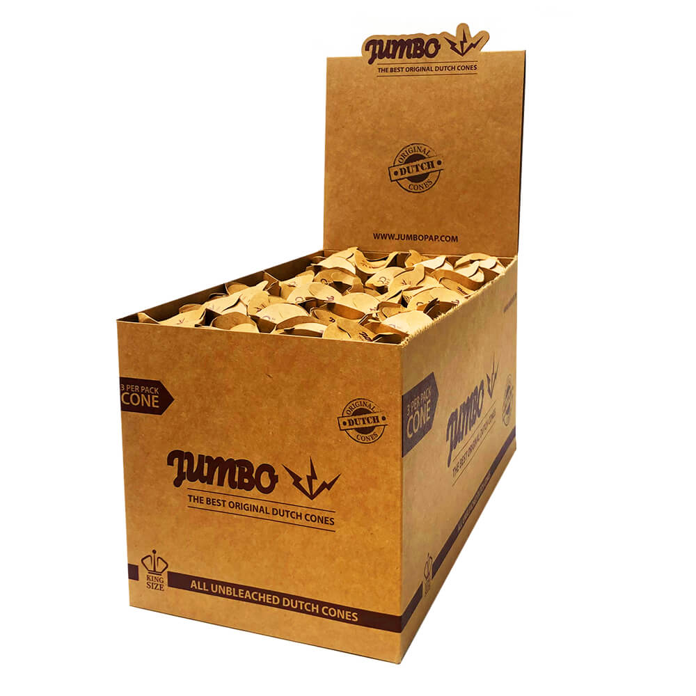 Jumbo King Size Unbleached Cones 3 Cones Per Pack (24pcs/display)