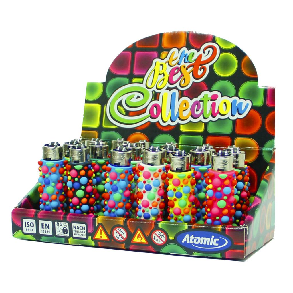Atomic silicon cover 3D lighters rainbow bubbles (24pcs/display)