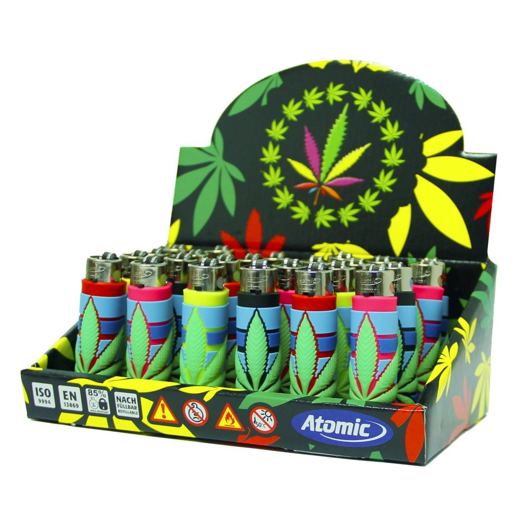 Atomic silicon cover 3D lighters weed leaf stripes (24pcs/display)