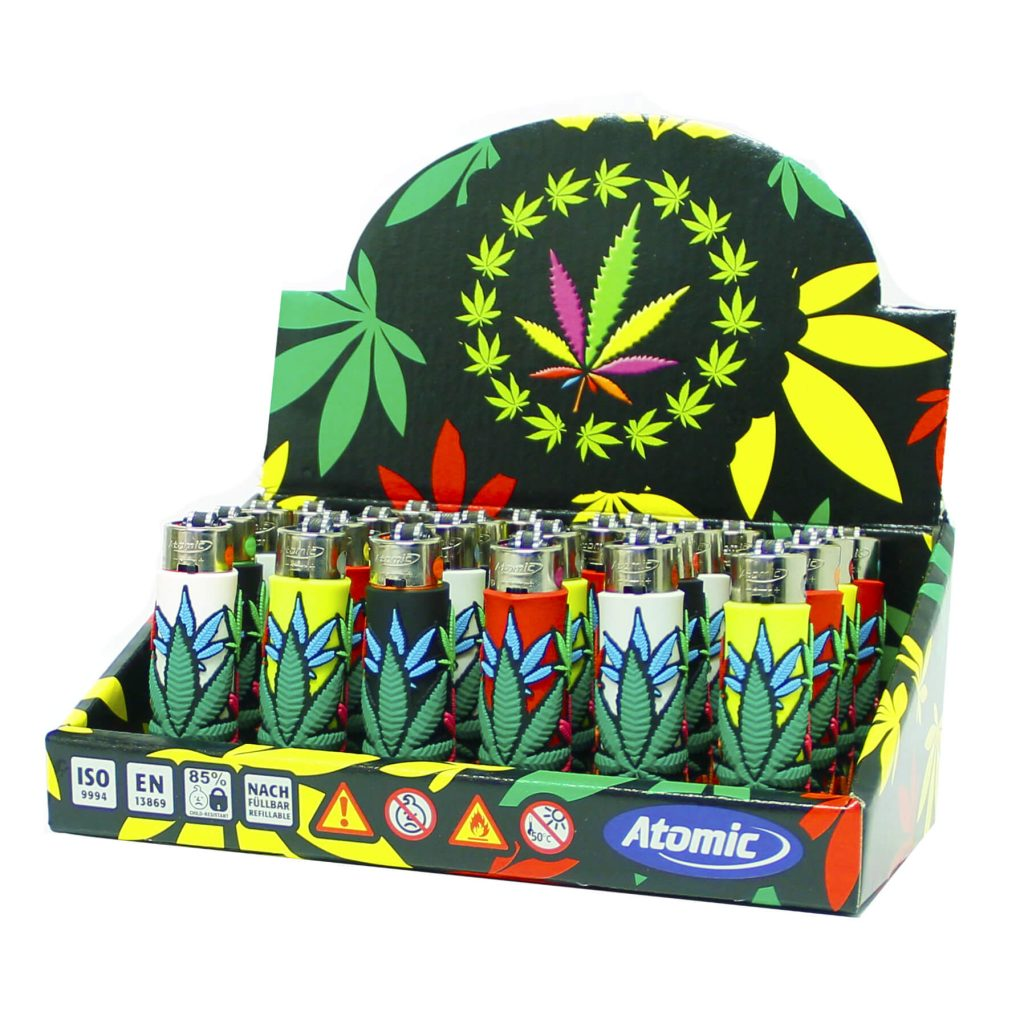 Atomic silicon cover 3D lighters double leafs (24pcs/display)