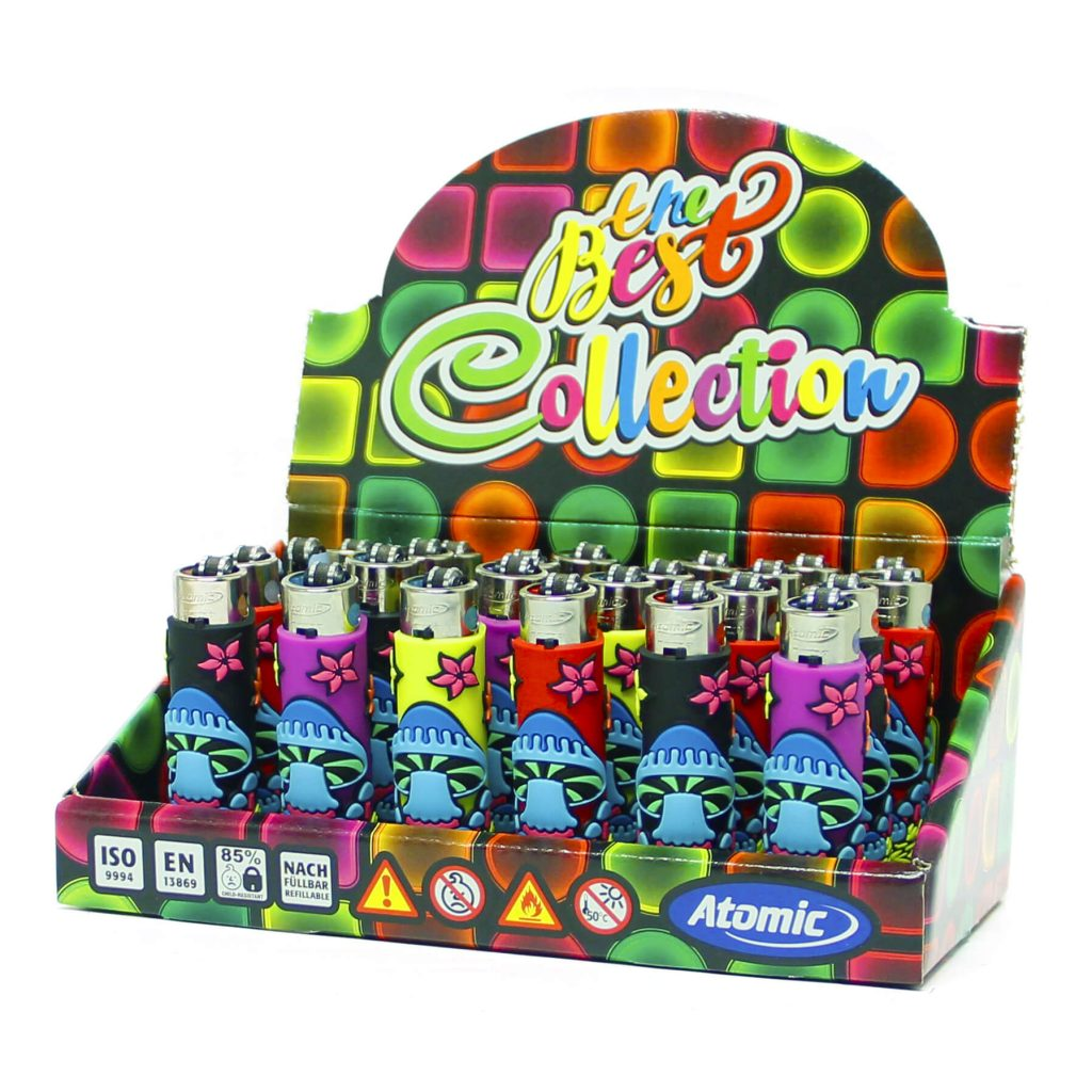 Atomic silicon cover 3D lighters mushrooms cool (24pcs/display)
