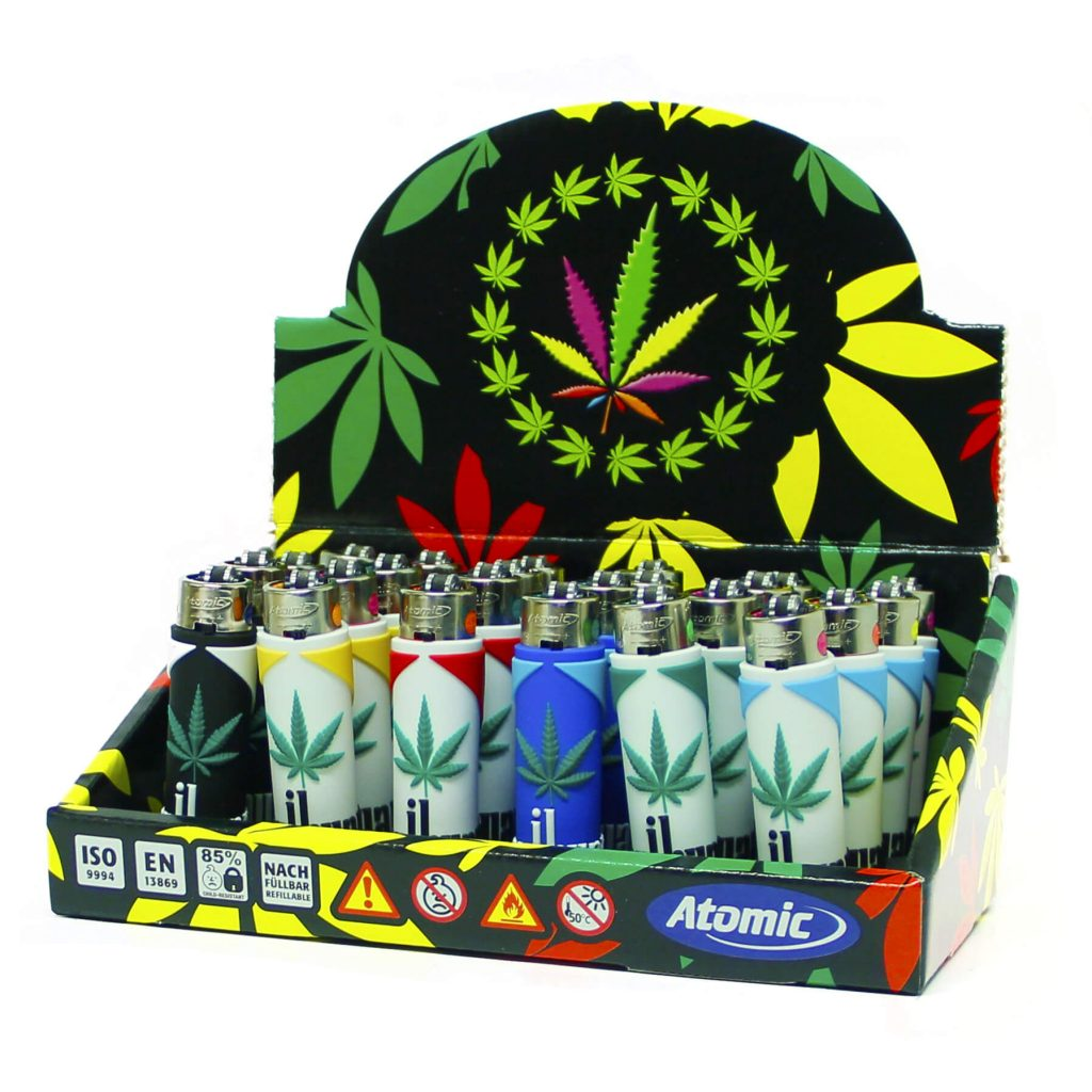 Atomic silicon cover 3D lighters weed leaf cigarettes (24pcs/display)