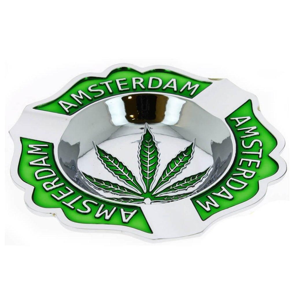 Amsterdam silver weed leaf metal ashtray