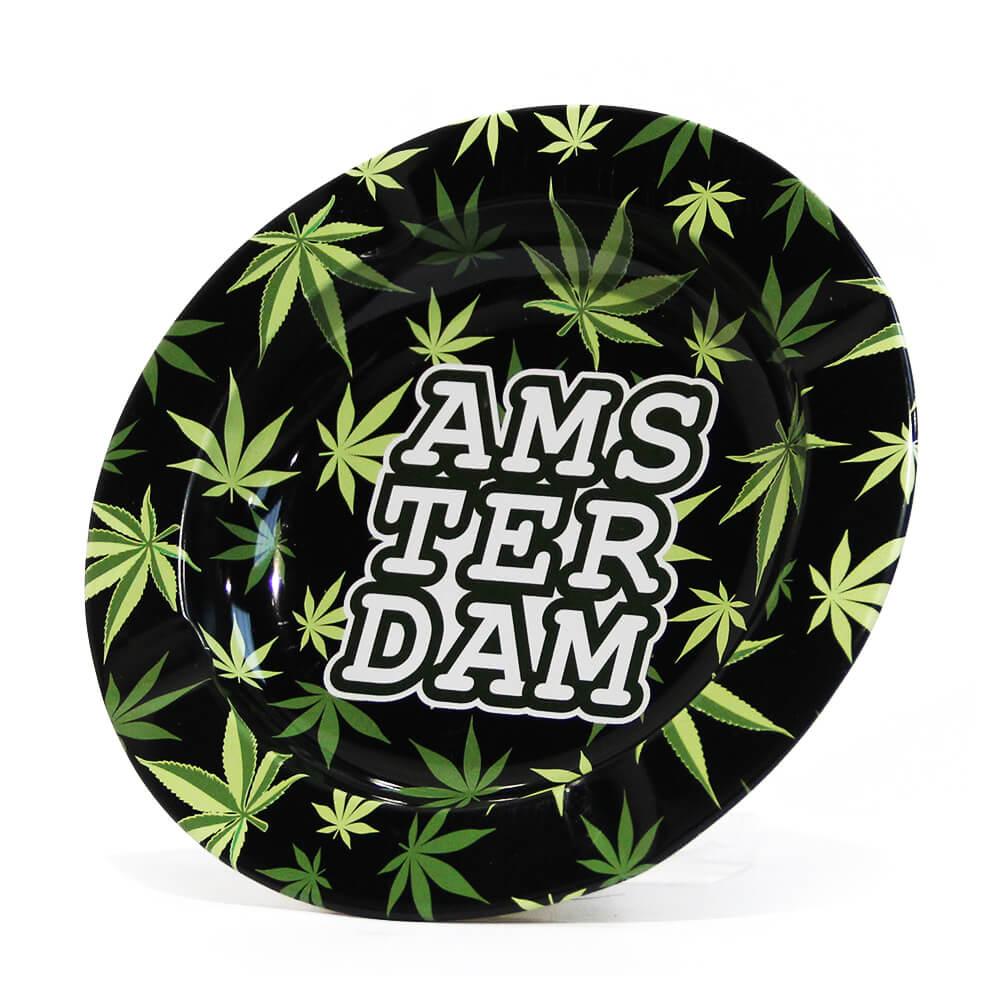 Amsterdam Green Weed Leaves Metal Ashtray