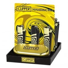 Clipper™ Gold psychedelic metal lighters - 12pcs/display