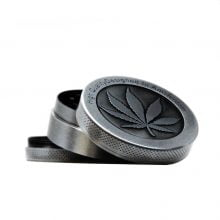 Silver leaf big metal grinder 50mm - 3 parts (12pcs/display)