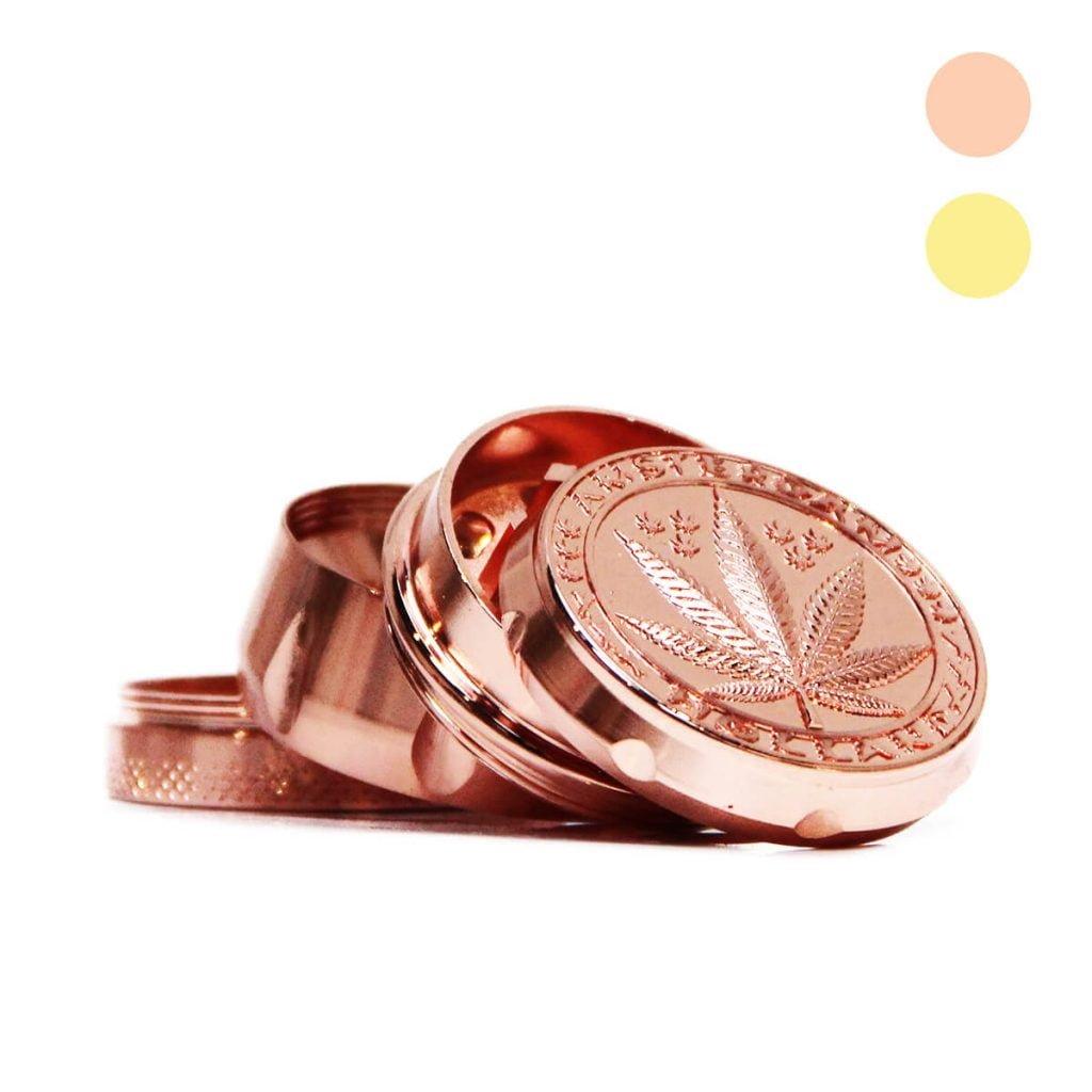 Royal weed leaf metal grinder mix pink gold 40mm - 4 parts (12pcs/display)
