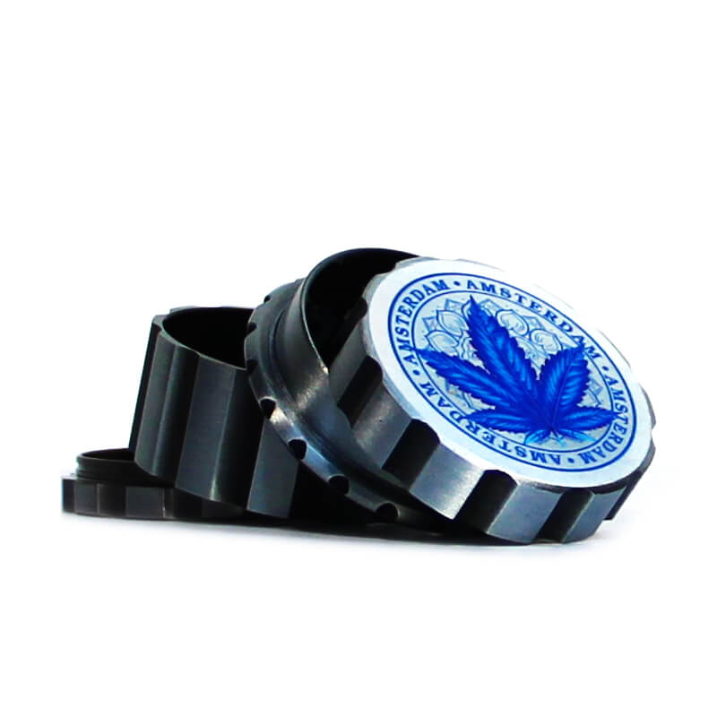 Canadian Weed Leaves Silver Metal Magnetic Grinder Mix 55mm - 4 parts (6pcs/display)