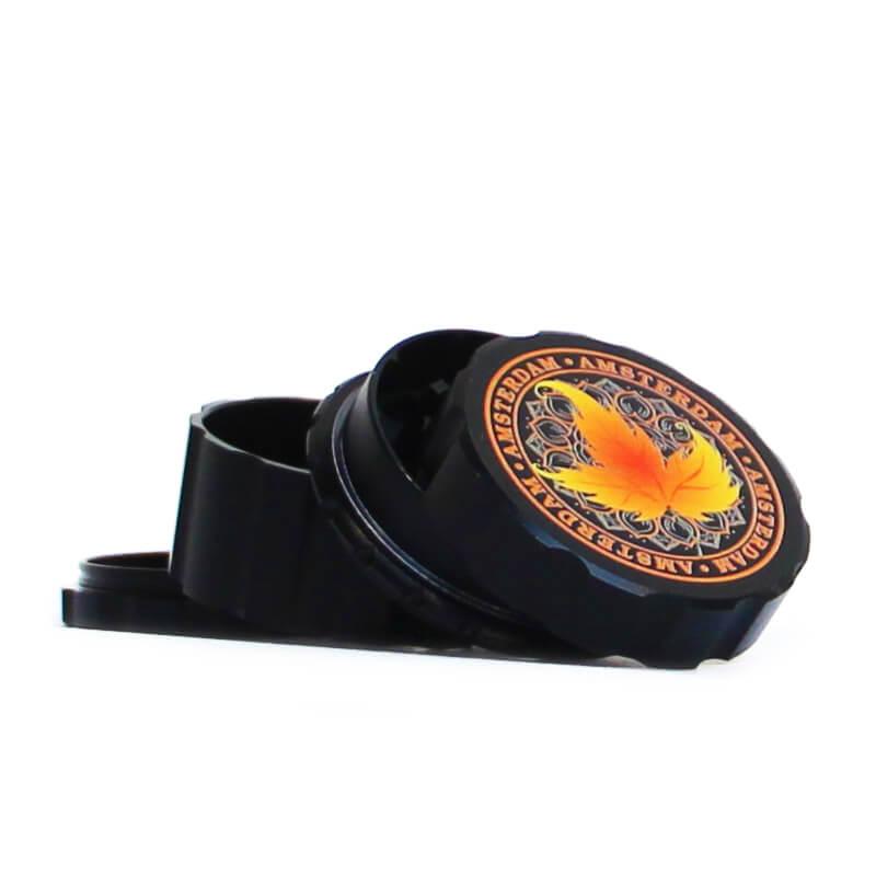 Canadian Weed Leaves Black Metal Magnetic Grinder Mix 55mm - 4 parts (6pcs/display)