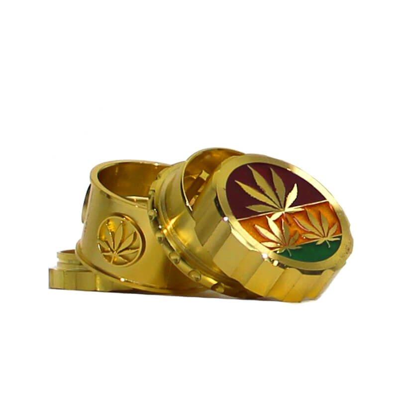 Rasta Leaves Gold Magnetic Metal Grinder 45mm - 4 parts (12pcs/display)