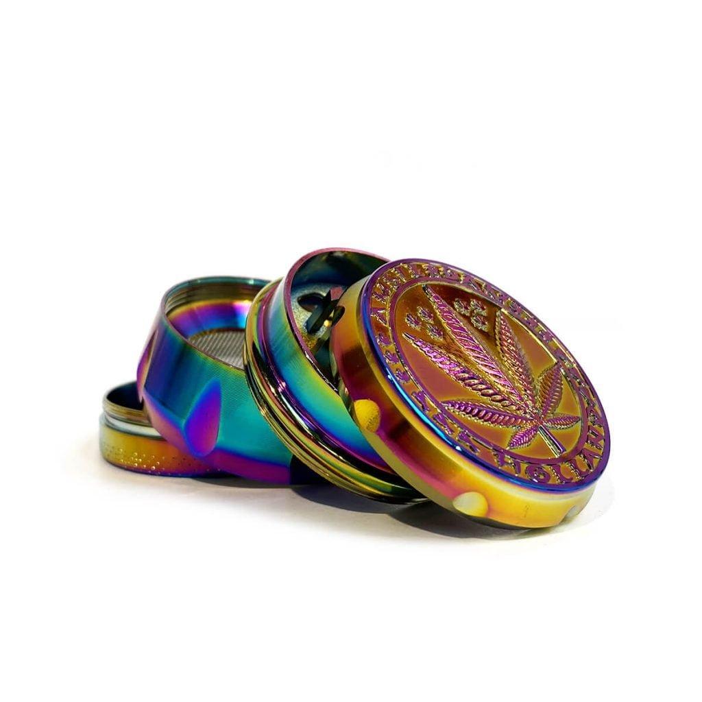 Weed leaf metal grinder rainbow 40mm - 4 parts (12pcs/display)