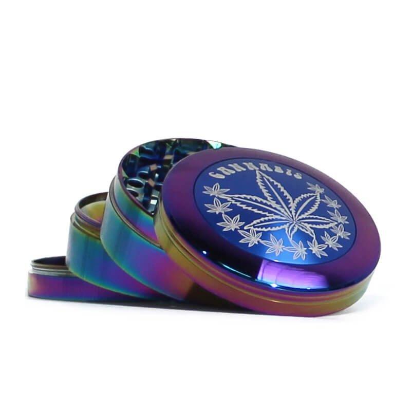 Rainbow Weed Leaves Mix Metal Grinders 63mm - 4 parts (6pcs/display)