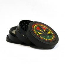 Metal grinder rasta black leaf 50mm - 4 parts (12pcs/display)