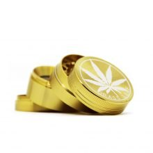 Gold weed leaf metal grinder 40mm - 4 parts (12pcs/display)