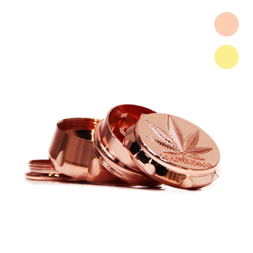 Royal weed leaf metal grinder mix pink gold 30mm - 4 parts (24pcs/display)