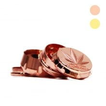 Royal weed leaf metal grinder mix pink gold 30mm - 4 parts (24pcs/display)