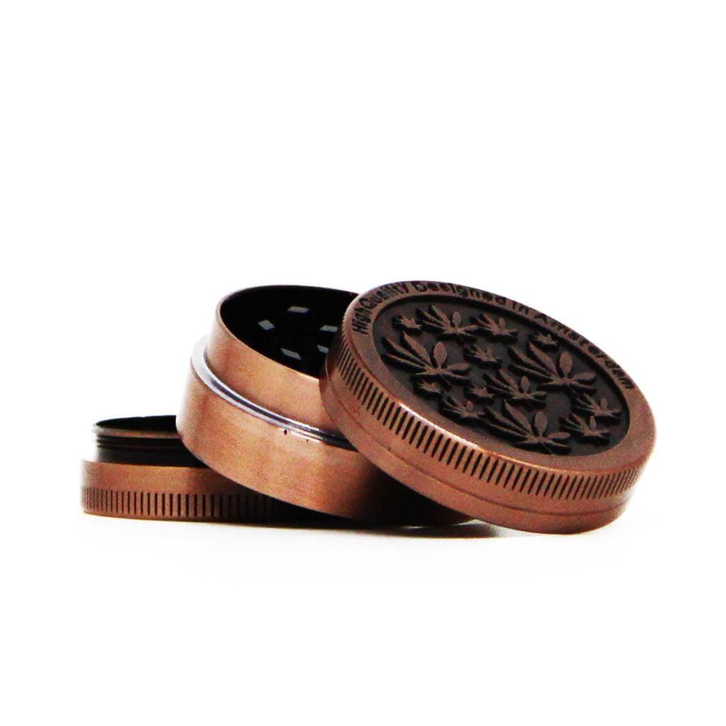 Amsterdam mini leafs bronze small metal grinder 40mm - 3 parts (12pcs/display)